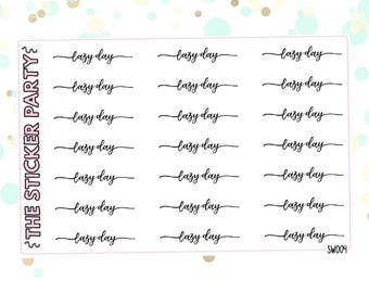 Lazy Day Script Stickers Lazy Day Headers