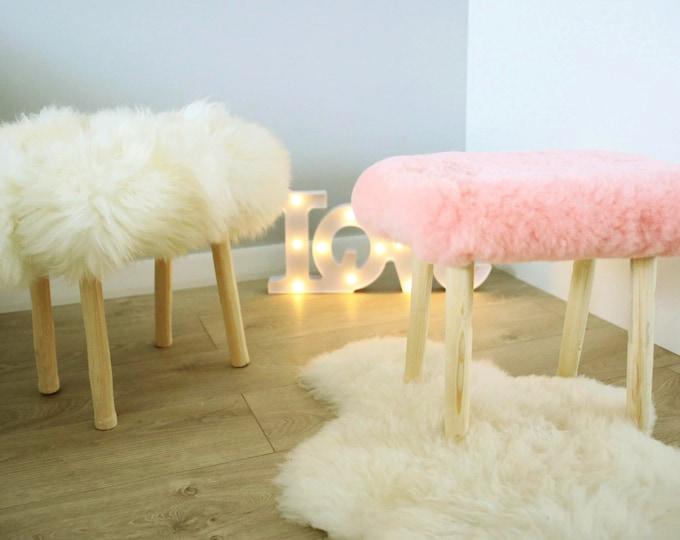 Beautiful sheepskin stools | Sheepskin ottoman | Sheepskin Stool | fur stool |