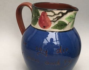 Vintage Devon Torquay Fruit Pitcher Jug MottoWare Art Pottery Motto Ware Never Say Die Up man and try