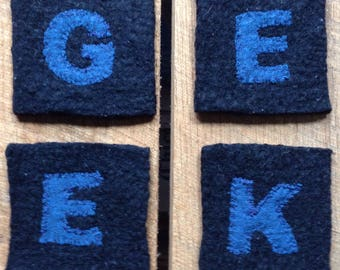GEEK gift: coasters, tech gift, IT gift, internet computer technology office gift, graduation gift, felted wool dining bar kitchen i647
