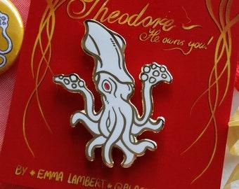 Theodore the Squid Enamel Pin