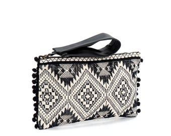 Black vegan clutch, Boho chic purse, Printed clutch bag, Boho Chic clutch with pompoms, Handmade leather clutch, FREE SHIPPING!