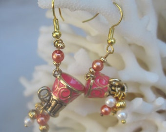 Elaborate Venetian Coffee Mug Earrings with Dangling BonBon Pearls