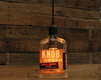 Knob Creek Single Barrel Pendant Light - Upcycled Industrial Glass Ceiling Light, Handmade Bourbon Bottle Light Fixture, Restaurant Lighting