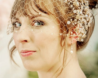 WEDDING VEIL  MALWA – bridal Gold filled birdcage veil with gold plated spray roses and Swarovski crystals, made to order