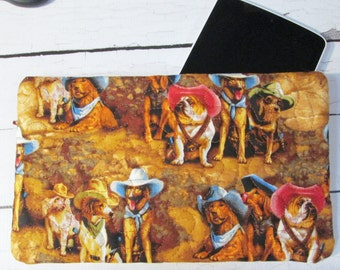 Cowboy Dogs #998998 Set - Large Zippered Table Case Set - Makeup Case and Glass Case Included