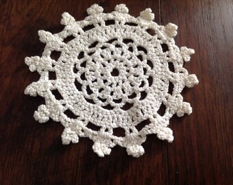 Old small round lace crochet doily