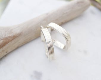 Modern Sterling Silver Ribbed Hoop Earrings, Sterling Silver Square Hoop Earrings, Sterling Square Shaped Hoops, Modern Silver Hoop Earrings