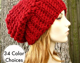 Cranberry Red Crochet Hat Red Womens Hat Slouchy Beanie Slouchy Hat - Souffle Beret Red Hat Red Beanie Red Beret - 34 Color Choices