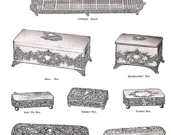 1968 Vintage Book Print - Trinket, Glove, Handkerchief Boxes, Trinket Trays, Celery Boat - Victorian Americana Black and White 2 Sided Page