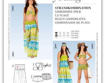 BEACH SWIMWEAR Sewing Pattern - Bandeau Bra Bikini Top Bottoms Skirt Boy Shorts Bathing Suit Swim Suit 7228 Plus Size Too