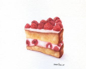Raspberry Cake - ORIGINAL Painting (Colorfull Wall Art) 8x8 inches