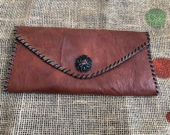 Brown Leather African-inspired Envelope Clutch Purse