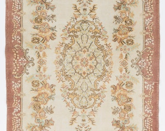 6.3x10.1 Ft Vintage Wool Rug. Traditional Handmade Carpet.   Floor covering for home & office decor.   Y204