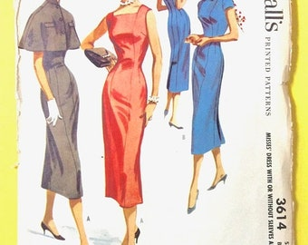 Spring Sale McCall's 3614 1950s  Misses' Dress with or without Sleeves and Cape  Princess seamed sheath dress Vintage Sewing Pattern Bust 30