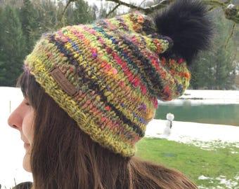 Kaleidoscope Handspun Hat~ winter hat~ slouchy hat~ handmade knit