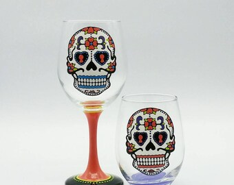 Sugar Skull Wine Glass Hand Painted Stemless or Stemmed Dia De Los Muertos Day of the Dead
