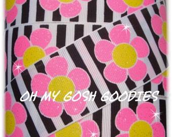"PETAL PUSHERS PINK Glitter Flowers Grosgrain Ribbon 7/8"",1.5"" - 5 Yards - Oh My Gosh Goodies Ribbon"