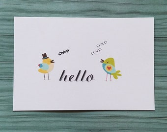 Postcards, Hello Postcards, Set of 10 Post Cards, Hello Birdie, Postcard Set