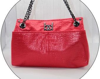 ZOOP! Purse - Red, Handbag, Shoulder Bag, Faux Leather, Faux Crocodile, Handmade, Handcrafted