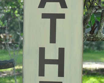 Vertical GATHER wood sign