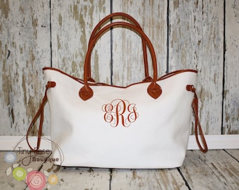 Cream Canvas Tote -Personalized Tote - Large Shopper- Monogrammed Purse