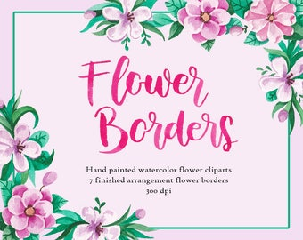 Flower Borders Watercolor clip art/Flower clip art/Hand Painted clip art for commercial use