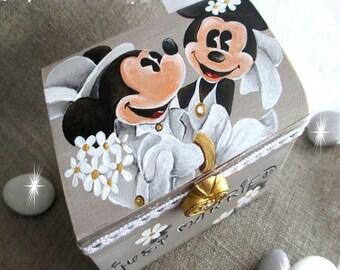 """Treasure chest ring bearer """"Minnie & Mickey"""""""