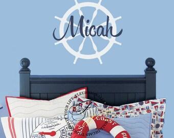 Nautical Nursery Wall Decal - Sailboat Ship Wheel Personalized Name Wall Decal - Baby Boy Nursery Decal - Boys Room Vinyl Wall Art BN003