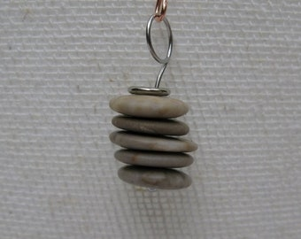 Pebble cairn pendant with choice of necklace