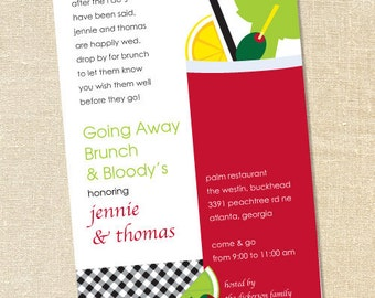 Sweet Wishes Bloody Mary Brunch Invitations - PRINTED - Digital File Also Available