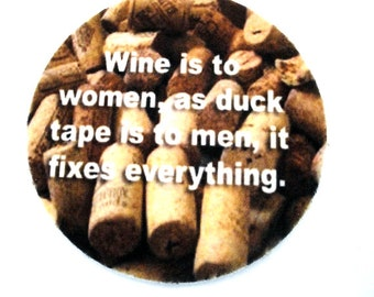 Set of two super absorbent funny wine coasters - FREE SHIPPING - Drink Coasters - Buy One = Give Clean Water