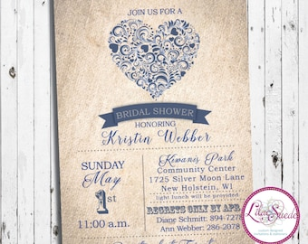 Vintage heart - rustic, farmhouse - bridal shower invitation - DIY - PRINT YOURSELF or purchase prints