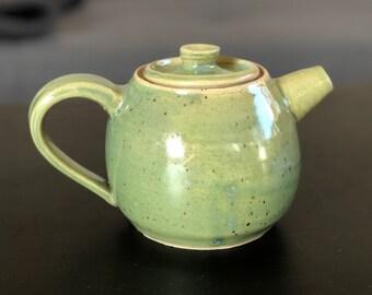 Small Green Handmade Ceramic Teapot