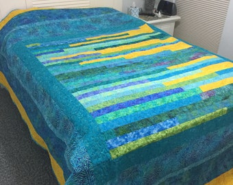 Sea Glass and Gold,  king size quilt