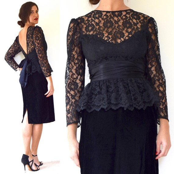 Vintage 80s 90s Black Velvet Lace Bodice Peplum Pencil Dress (size small)