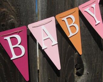 Baby Shower Banner, Baby Shower Decorations, Sweet Baby Girl Banner, Pinks, Light Orange, White