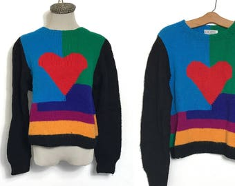 Vintage 80's Sweater Colorblock Sweater  80's New Wave Sweater Wool Sweater Slouchy Sweater Medium Heart Geometric Colorful Red Blue Green O