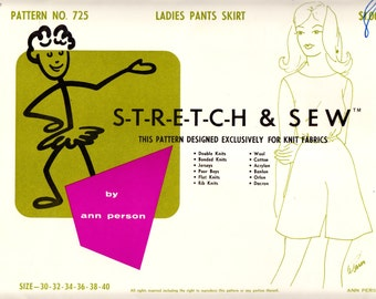 1960's Vintage Sewing Pattern Stretch & Sew 725 Ladies' Pants Skirt Waist Sizes 30-40