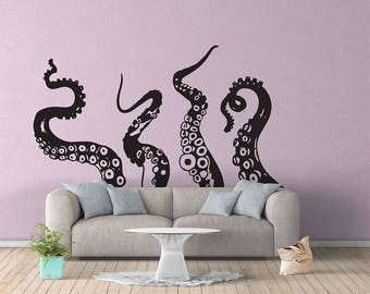 Octopus Tentacles Sticker Vinyl Wall Decal Home Decorate Large Wall Sticker 0714 65W x 112H