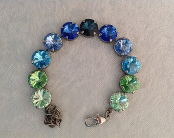 Swarovski crystal bracelet, 12mm, green-blue, holiday gift, wedding jewelry, bridesmaids,