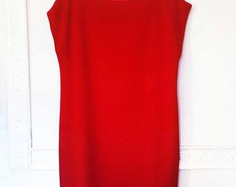 RED TUNIC DRESS, red shift dress, evening short dress, thanksgiving dress, red formal dress, Christmas dress, A line mini dress, gift idea