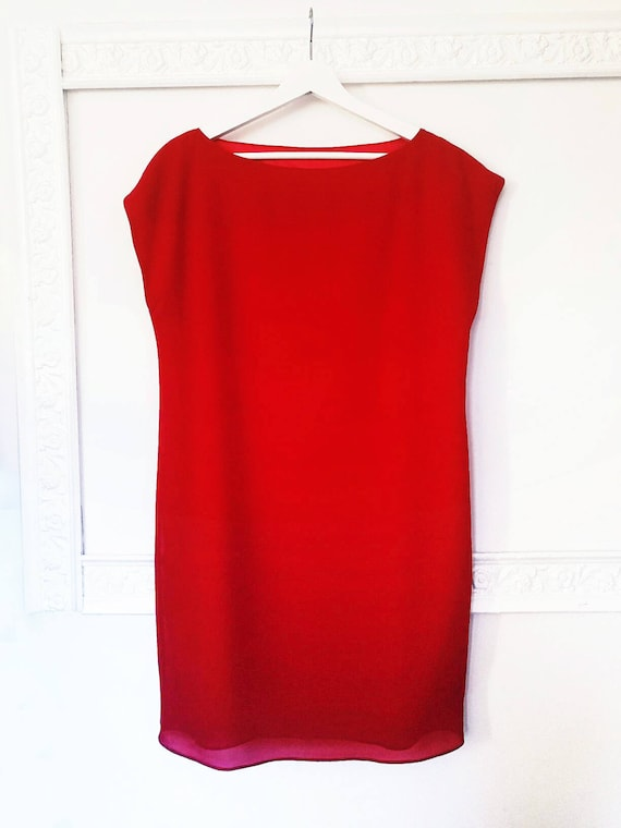 RED TUNIC DRESS, red shift dress, evening short dress, thanksgiving dress, red formal dress, Christmas dress, A line mini dress, gift idea