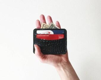Crocodile Embossed Leather Credit Card Wallet, Black Leather Credit Card Case, Business Card Holder, Metro Card Pouch, Credit Card Holder