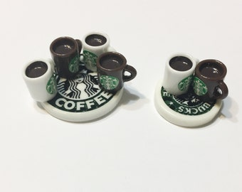 Kawaii Miniature Starbucks Cabochons Coffee Cup Cabochons, Starbucks Coaster Cabochons - 8 pcs