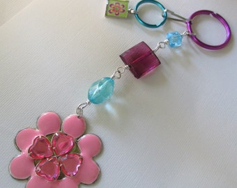 Key Chain pink flower power, purple & turquoise with detchable split ring