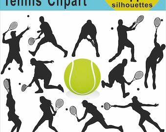 Tennis Silhouettes Clipart, Tennis Clipart, Sport Silhouette Clipart, Clipart Tennis, Tennis Silhouette Images, Men Women Players