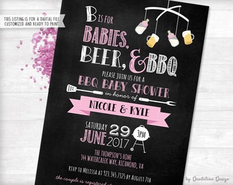 Babies Beer BBQ Couples Baby Shower Invitation Printable