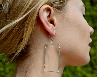 Sterling silver Rectangle dangle handmade earrings