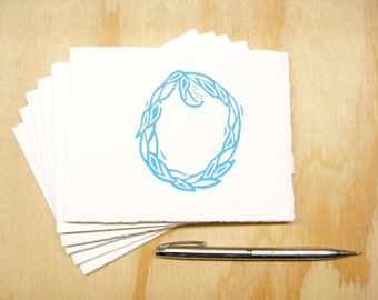 Letter O Stationery - Personalized Gift - Set of 6 Block Printed Cards